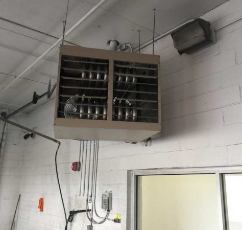 New unit heater installed in car wash